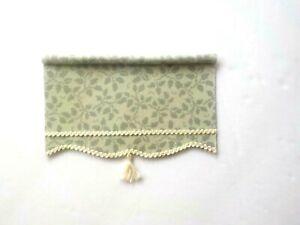 Dollhouse Miniature Handmade Green Print Window Drapes Curtains Valance Shade