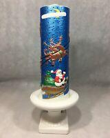 "Ceramic Light Up Christmas Candle 19"" Luminary Lamp Santa's Sleigh Reindeer"