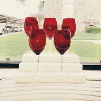 Vintage Ruby Red Crystal Optic Clear Stem Wine Goblets set of 5 Hand Blown