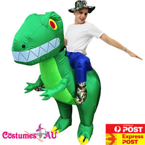 Mens Inflatable Ride On Giant Dinosaur Costume Rider Animal Adult Blow Up T-rex