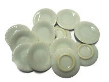 10x20 mm White Round Plates Dollhouse Miniatures Food Supply Food