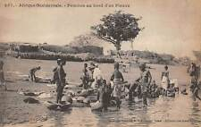 FRENCH WEST AFRICA, WOMAN WASHING ON RIVER BANK, FORTIER PUB ~ c. 1904-14