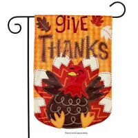 "Turkey Thanksgiving Applique Garden Flag Holiday 12.5"" x 18"" Briarwood Lane"