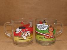 "2 McDonalds 1978 & 1980 Jim Davis Garfield Comic Glass Coffee Mugs Glasses 3.5"""