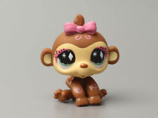 Littlest Pet Shop Brown Pink Monkey #1322 Diamond Eyes Chimpanzee LPS Vintage