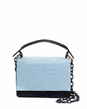 NEW Nancy Gonzalez Bicolor Crocodile Flap Top Bag Alligator Blue Navy