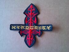 HYPOCRISY,SEW ON RED AND GOLDEN EMBROIDERED PATCH