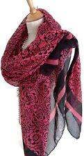 Fab Hot Pink Black Pashmina Scarf Wrap Shawl Floral Colour Block Stencil Print