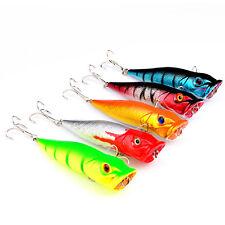 5PCS Mix Fishing Bass Fish Topwater Popper Minnow lure hook baits 9.5cm/12g