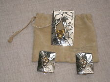 Sidney Carron Paris modernist silver brooch and matching earrings in pouch
