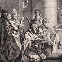 Gravure XVIIIe  Charles Martel Francs Neustrie  Protection Pape Grégoire III