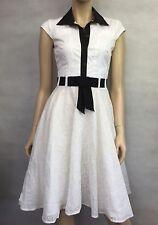 KAREN MILLEN ~ STUNNING WHITE & BLACK COTTON LACE DRESS, LINED  SZ 8