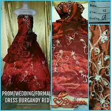 new 💥size 12💥 burgundy deep red wedding dress prom formal ballgown 🆕 unworn