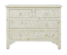 Handmade Antique Bone inlay White Dresser Chest of Drawer Sideboard Cabinet