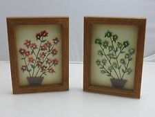 Broken Glass & Acrylic Potted Flower Painting Art Craft Pictures Vintage Kitsch