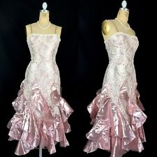 Vintage 80's Size XS Pink Metallic Taffeta And Lace Prom Gown Ruffles Drop Waist