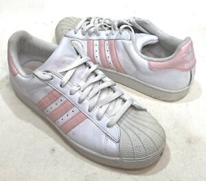 Women's Adidas Superstar White & Pink Sneakers Worn Size 12 (read)