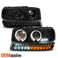 For 1999-2006 GMC Sierra Yukon Black Smoked Halo Head Lights + LED Bumper Lights
