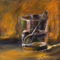 Glass with a steel / silver spoon Oil Painting 8x8in 20x20cm