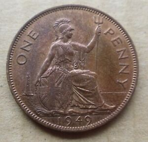 1949 UK 1 One George VI Penny Coin High Grade