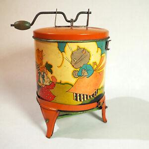 1930's Ohio Art Fern Bisel Peat Kitten Washing Machine Tin Litho