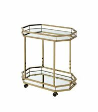 Serving Cart in Mirror & Champagne - Mirror, Metal Tube, Plast Mirror & Champ...