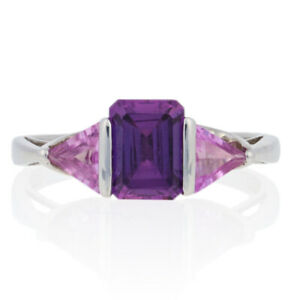 2.75ctw Rectangle Cut Synthetic Pink Sapphire Ring - 10k White Gold Size 9