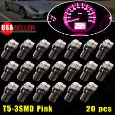 20X T5 3SMD Pink Purple Dash Gauge Cluster LED Bulb Light 73 74 70 37 17 18 12V