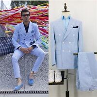 Men's Summer Seersucker Suits Leisure Beach Groom Wedding Double-breasted Suits