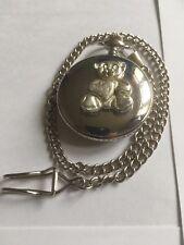 Teddy Bear Heart TG312A Fine English Pewter on a Silver Pocket Watch Quartz fob