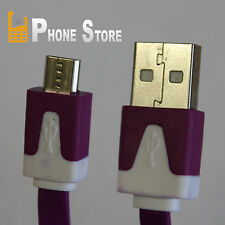 Sony Xperia Z5 Micro USB Kabel Ladekabel Flachband Reißfest Lila 1M