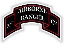 """Adesivo 2nd AIRBORNE RANGER BATTAGLIONE Logo Decalcomania US Army Militare 2.6 """"X 4"""""""