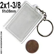 10x Clear acrylic keychain 2 x 1-3/8 photo insert for luggage ID keyring 51x35mm