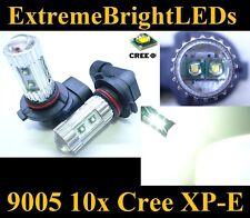 TWO Xenon HID WHITE 50W High Power 9005 HB3 10x Cree XP-E LED Fog Light bulbs