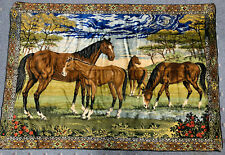 Vintage Velvet Tapestry Wall Hanging Rug Horses Great Colors 49 x 69