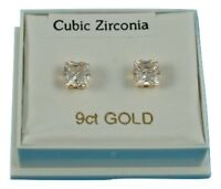 UK Made 9ct Gold Stud Earrings 6mm Square simulated Diamonds Women's