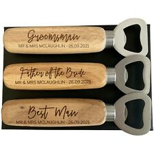 Personalised Wedding Favours, Gifts for Groomsman Father of Bride, Bottle Opener