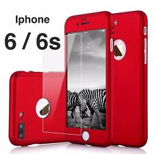 Iphone 6 / 6s 360 Hybrid Full body case w/Tempered Glass - Red