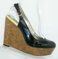 Sam Edelman Mallory black patent leather buckle slingback cork wedges 8M