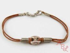 """Sterling Silver Vintage 925 Modernist Leather Chain Bracelet 7"""" (3.8g) - 813647"""