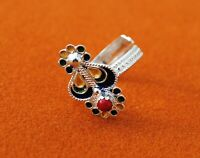 Unique Sterling 925K Silver Ring Natural Enamel Red Coral Women Jewelry Handmade