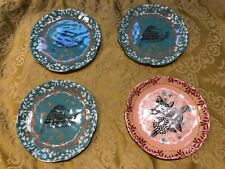 Anthropologie Small Ceramic Bird & Flower Plates Dishes- Set of 4