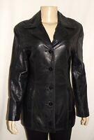 Nine West Women Size Small Black Leather Jacket Coat