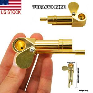 1PC Brass Tobacco Smoking Proto Pipe Tar Trap Stash Storage Cylinder Chamb US