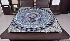 Indian Wall Hanging Ethnic Elephant Mandala Hippie Cotton Queen Size Bed Cover