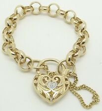 9CT YELLOW GOLD & DIAMOND BELCHER LINK CHILDS BRACELET WITH HEART CLASP - 12CM