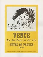 """1989 VINTAGE """"CHAGALL VENCE FETES PAQUES"""" EASTER MINI POSTER COLOR Lithograph"""
