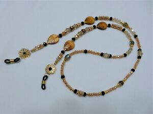 "Crystal/ Glass/ Resin Bead/ Rhinestone/ Gold Plated eyeglass Holder 30"" - G10"