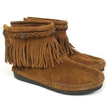 Minnetonka Fringe Ankle Booties Moccasins Tan Size 7