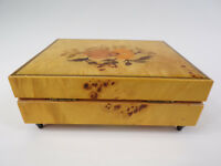 """Italian Crafted Musical Jewelry Box Light Burl Wood Plays """"Try to Remember"""""""